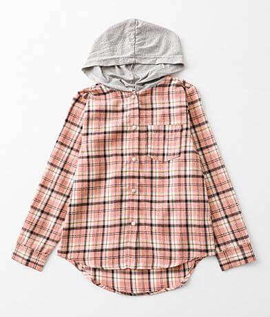 Girls - BKE Hooded Plaid Shirt