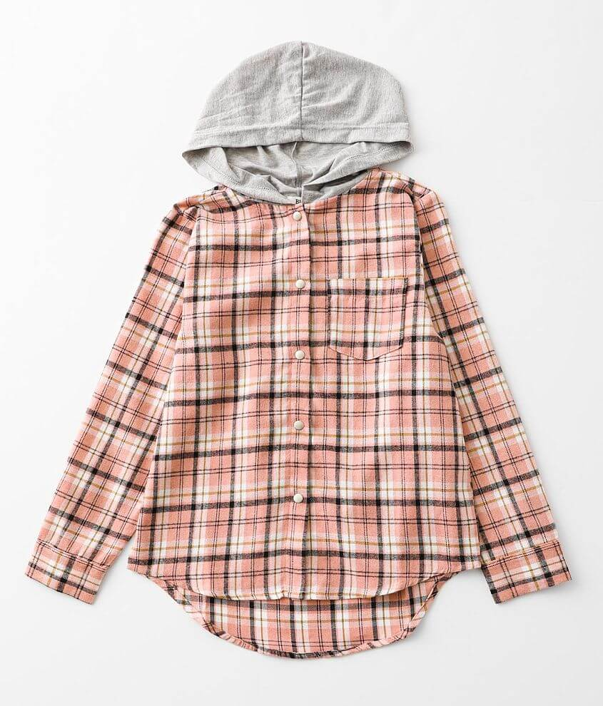 Girls - BKE Hooded Plaid Shirt front view