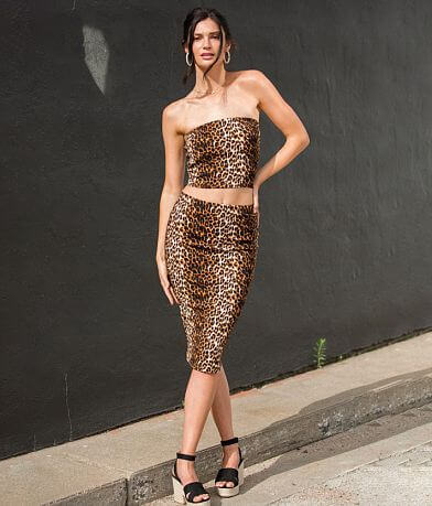 grehy Animal Print Midi Skirt