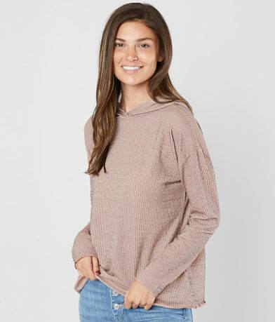 Willow & Root Ribbed Knit Hoodie