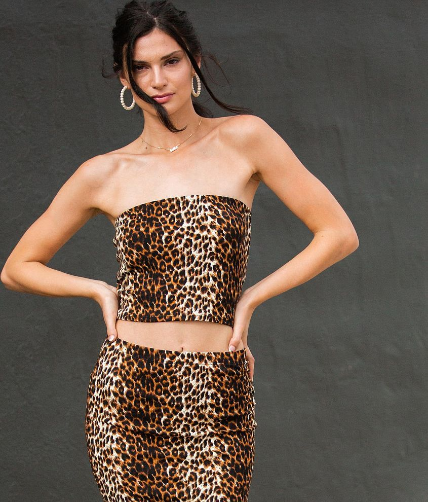 grehy Animal Print Tube Top front view