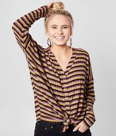 BKE Striped Drop Shoulder Top