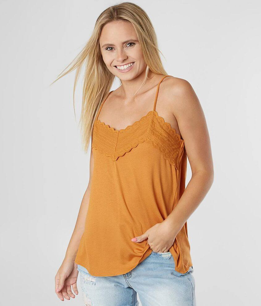 Daytrip Embroidered Applique Tank Top front view
