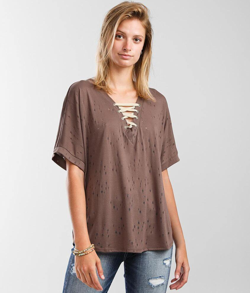 BKE Tattered Lace-Up T-Shirt front view