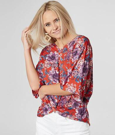 Daytrip Floral Twisted High Low Hem Top