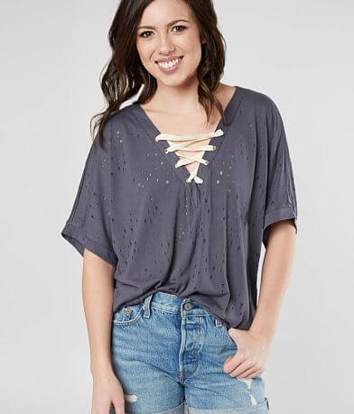 Daytrip Tattered Lace-Up Top