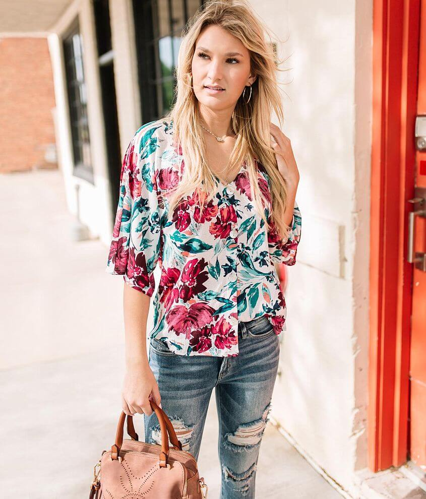 Willow & Root Floral Button Down Top front view