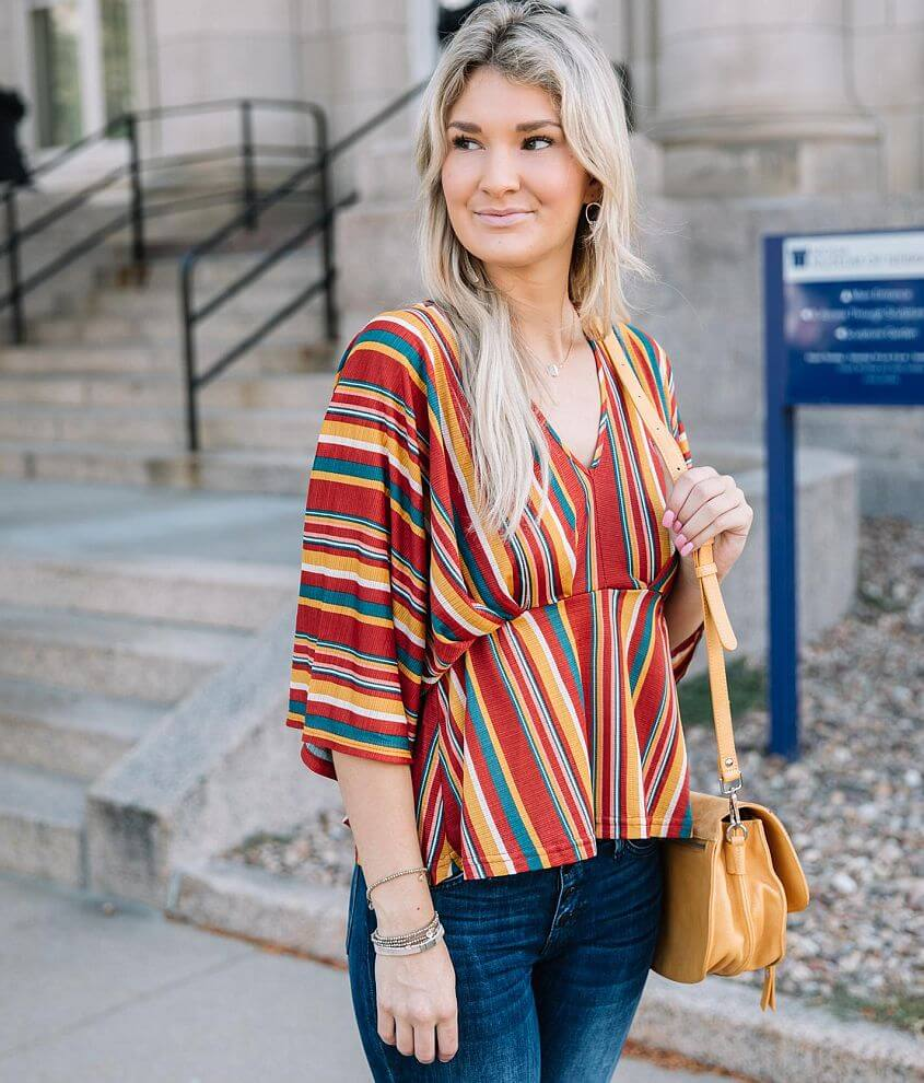 Willow & Root Empire Waist Striped Top front view