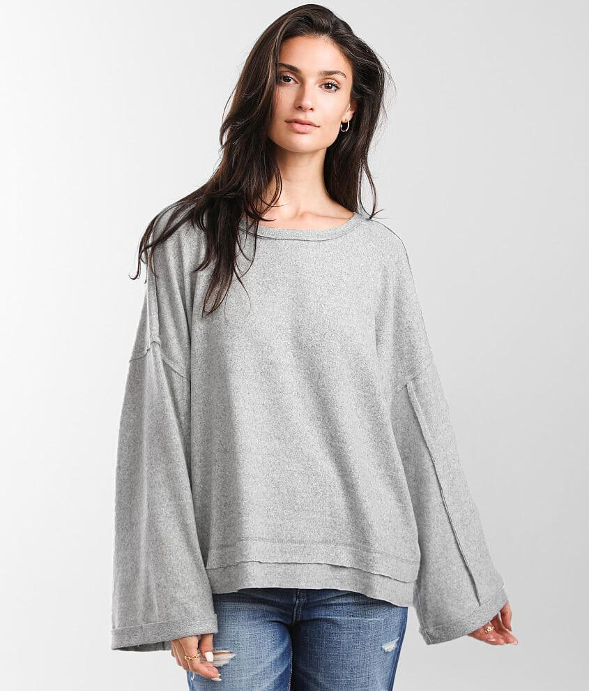 BKE Raw Edge Oversized Fleece Pullover front view