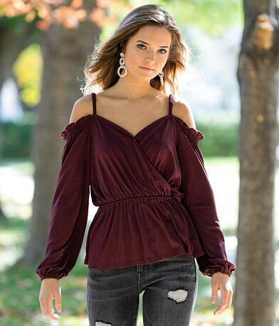 Willow & Root Cold Shoulder Peplum Top