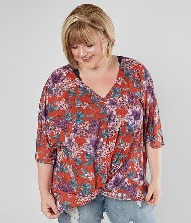 Daytrip Floral Twisted Hem Top - Plus Size Only