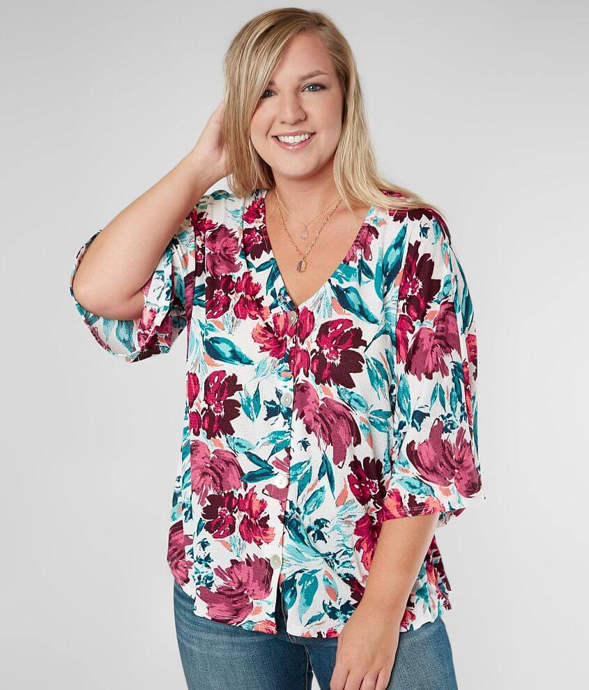 Willow & Root Floral Top - Plus Size Only front view