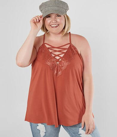 Daytrip Lace-Up Tank Top - Plus Size Only