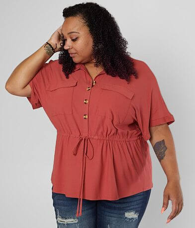 Daytrip Collared Dolman Blouse - Plus Size