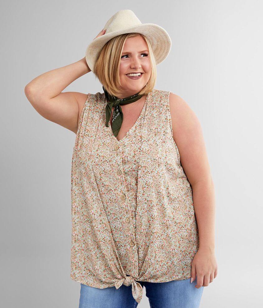 Daytrip Paisley Floral Tank Top - Plus Size Only front view