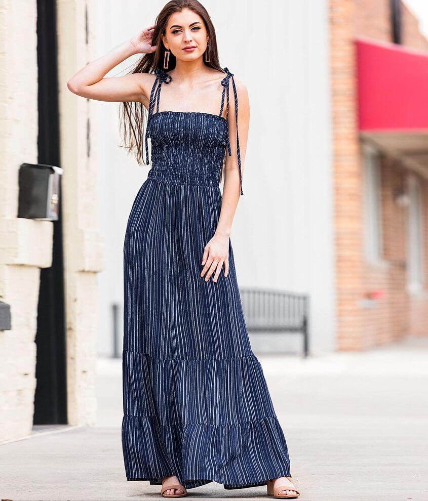Bailey Blue Textured Gauze Striped Maxi Dress front view