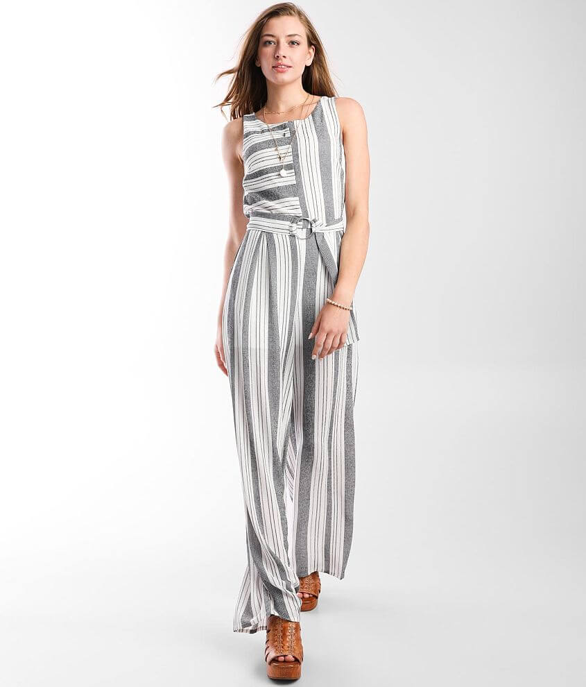Bailey Blue Striped Jumpsuit front view