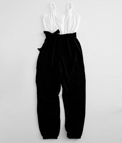 Bailey Blue Solid Cargo Jumpsuit