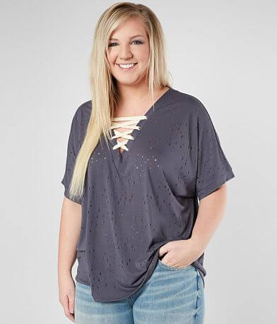 Daytrip Tattered Lace-Up Top - Plus Size Only