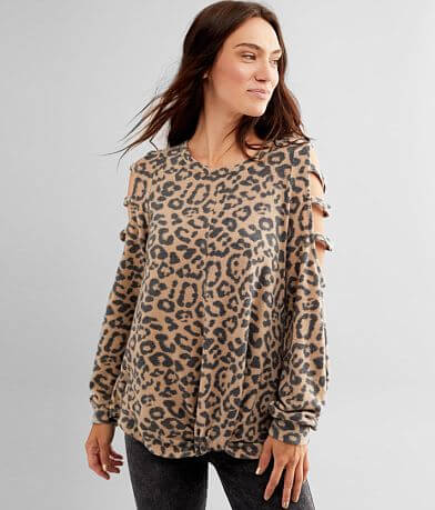 Daytrip Cheetah Print Strappy Cold Shoulder Top