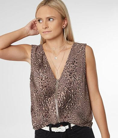 Willow & Root Animal Print Zip Front Tank Top
