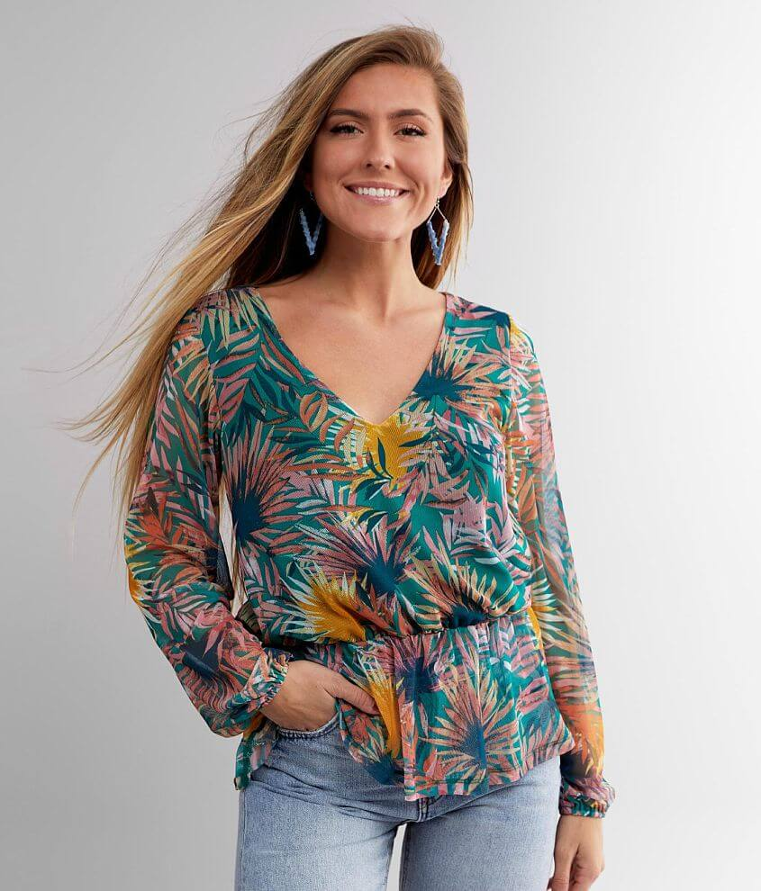 Willow & Root Floral Ruffle Top front view