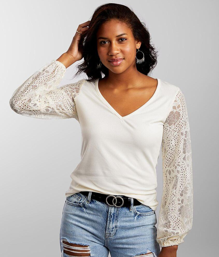 Daytrip Ribbed Lace Top front view