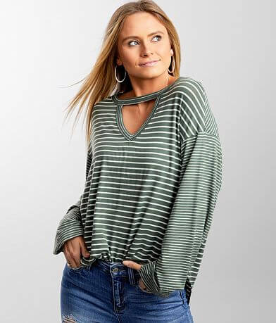 BKE Striped Cut-Out Top