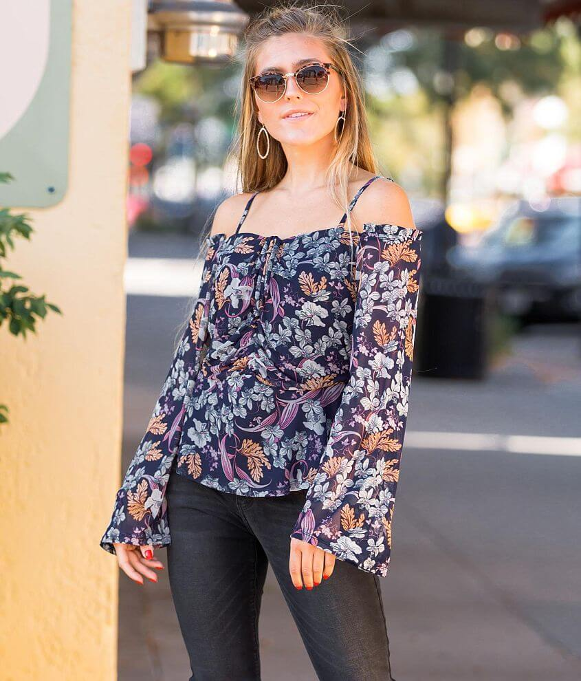 Willow & Root Cold Shoulder Peplum Top front view
