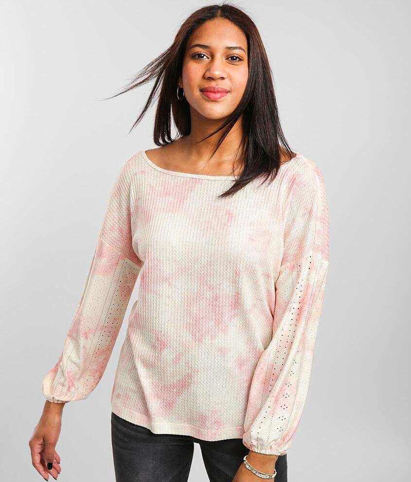 Daytrip Waffle Knit Wide Neck Top front view