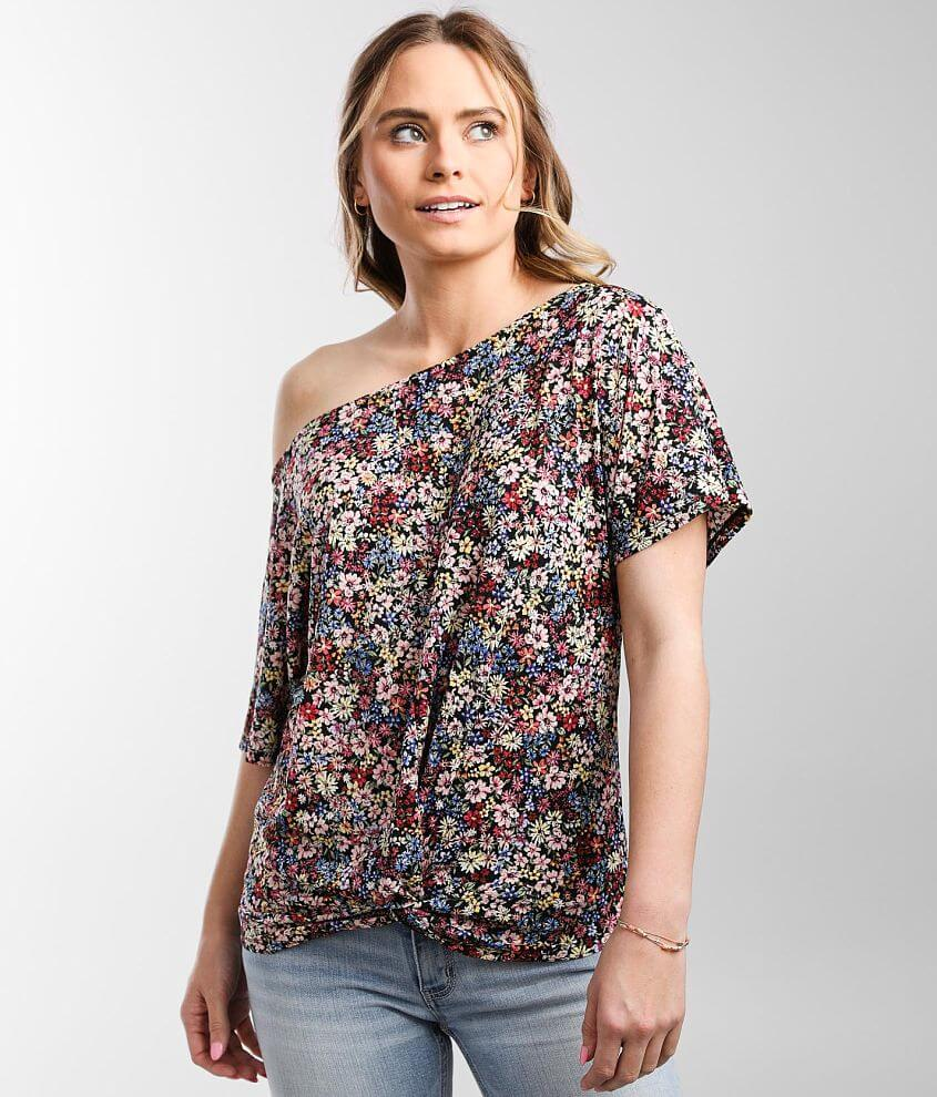 Daytrip Floral One Shoulder Top front view