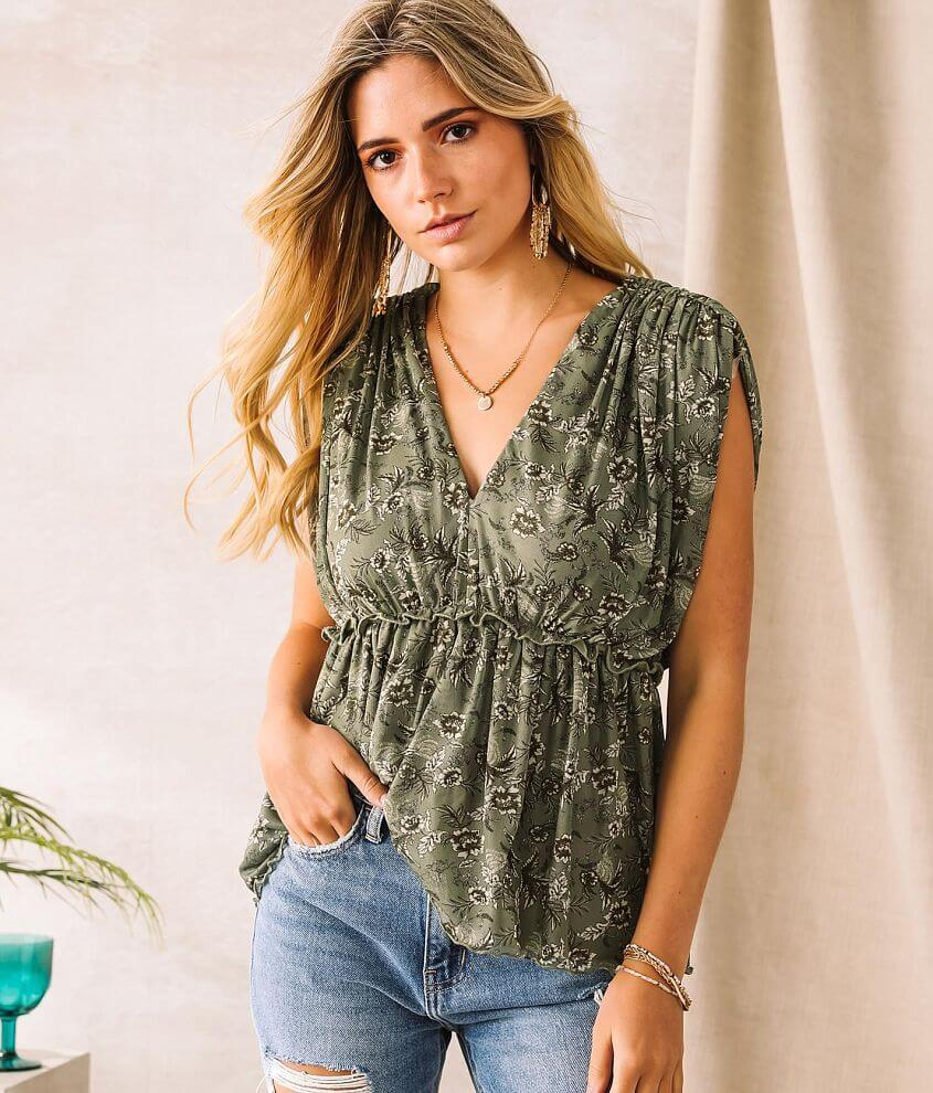 Willow & Root Floral Mesh Overlay Top front view