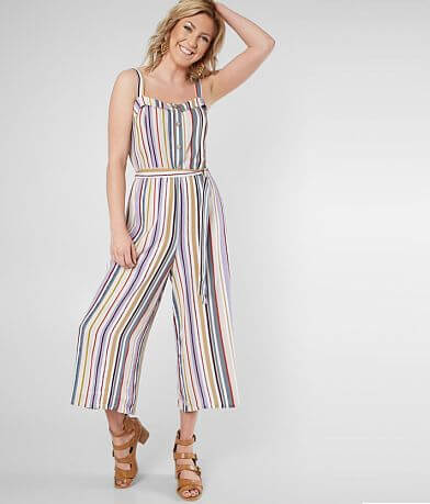 Daytrip Striped Wide Leg Cropped Jumpsuit