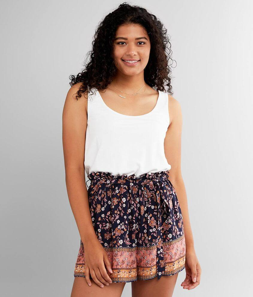 Daytrip Pieced Floral Paperbag Romper front view