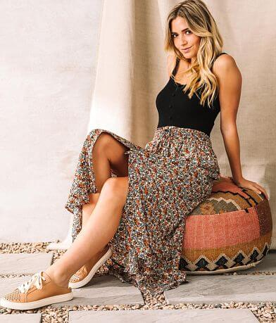 Willow & Root Floral Chiffon Maxi Skirt