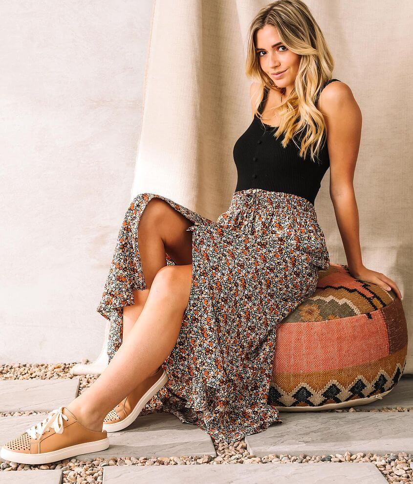 Willow & Root Floral Chiffon Maxi Skirt front view