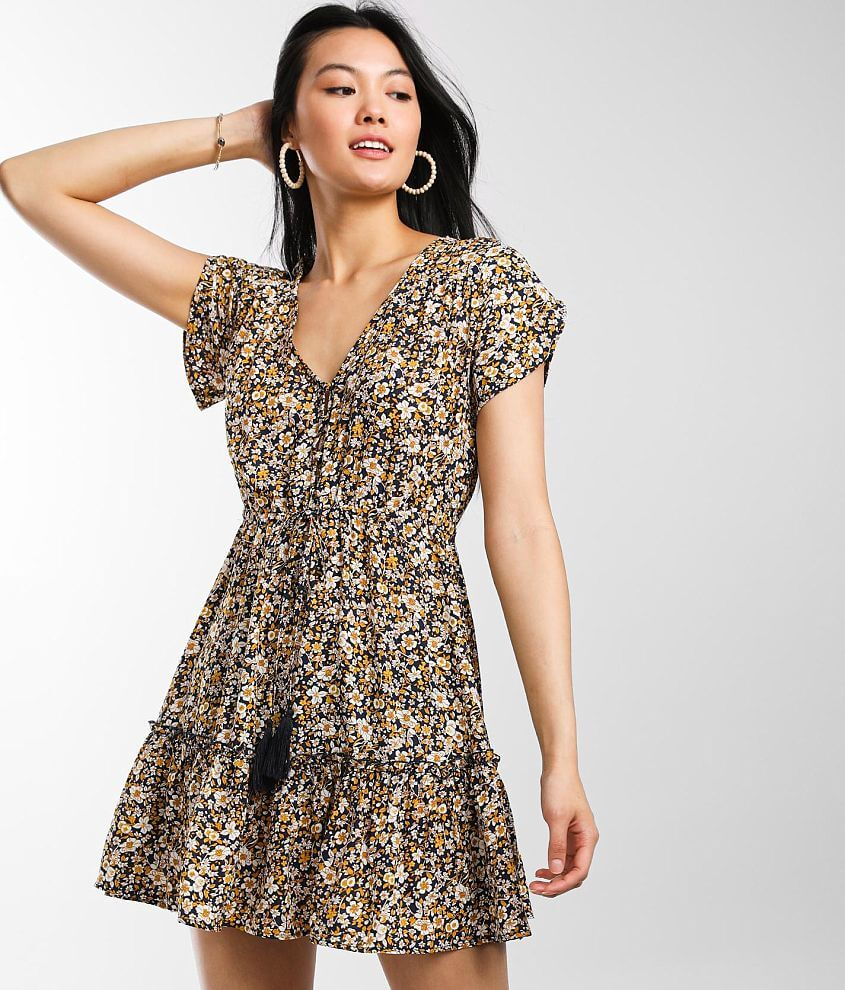 Daytrip Tiered Ditsy Floral Dress front view
