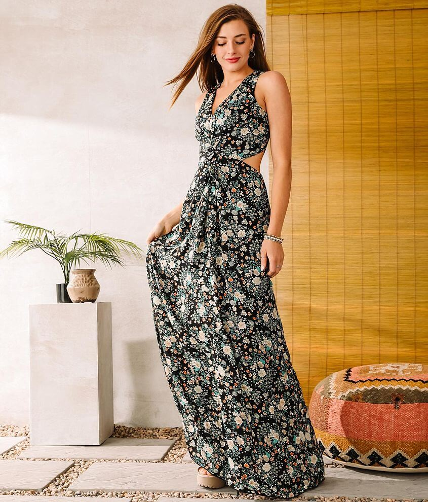 Willow & Root Side Cut-Out Maxi Dress front view