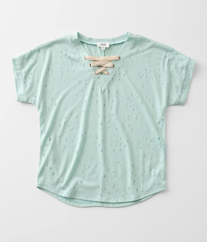 Girls - BKE Destructed Lace-Up Top front view