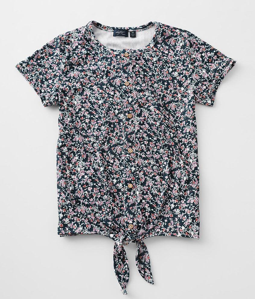 Girls - Daytrip Floral Ribbed Top front view