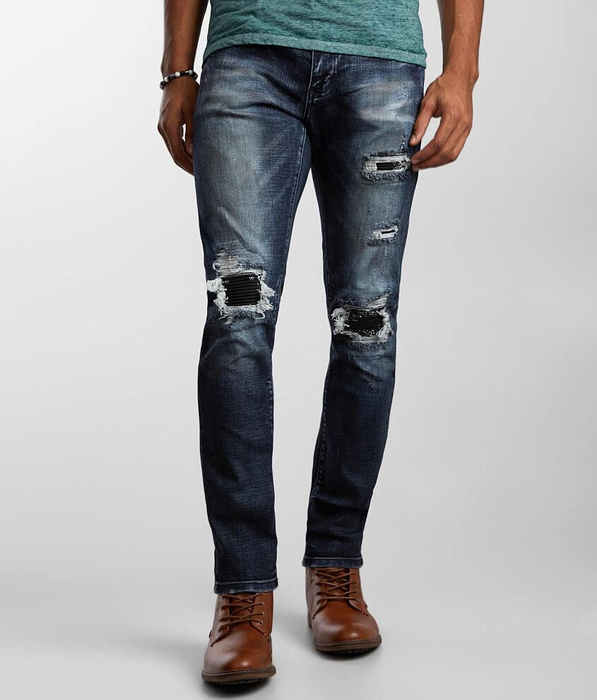 Crysp Denim Marlon Moto Skinny Stretch Jean front view