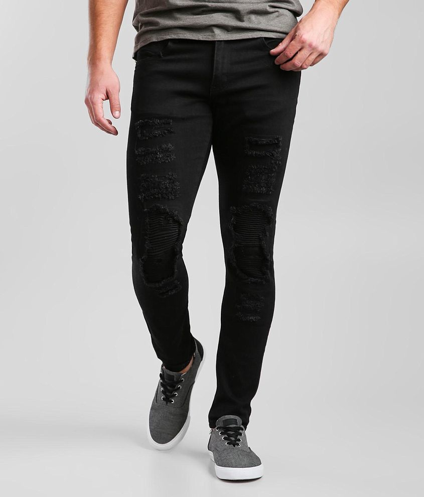 Crysp Denim Isaac Moto Skinny Stretch Jean front view