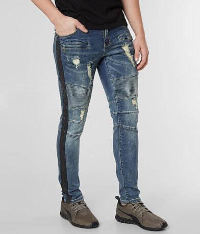 Crysp Denim Knitty Biker Skinny Stretch Jean