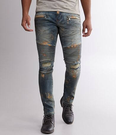 Crysp Denim Danny Washed Moto Skinny Stretch Jean