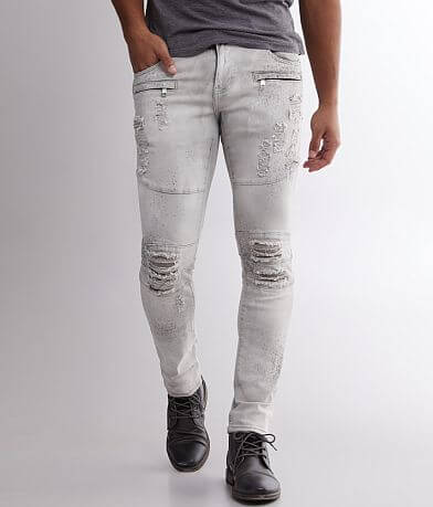 Crysp Denim Kahane Washed Moto Skinny Stretch Jean