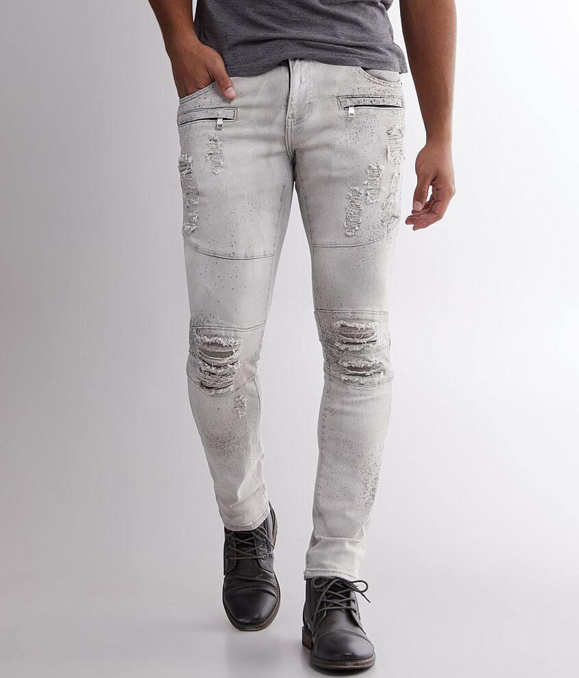 Crysp Denim Kahane Washed Moto Skinny Stretch Jean front view