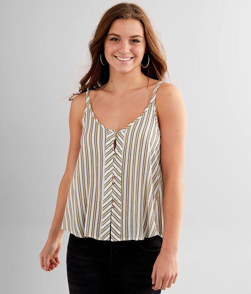 Liberty Love Woven Striped Tank Top front view