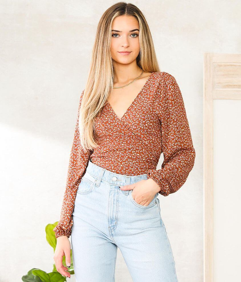 Willow & Root Floral Wrap Top front view