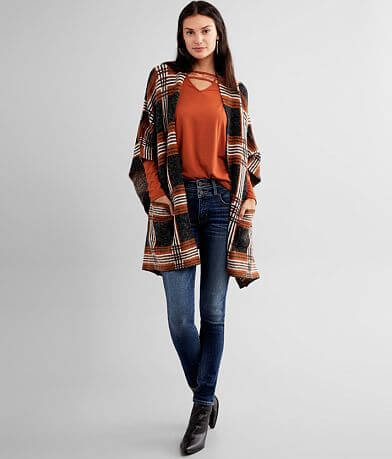 Buckle Black Plaid Poncho Cardigan Sweater