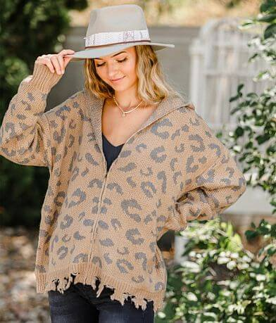 Willow & Root Leopard Hooded Sweater
